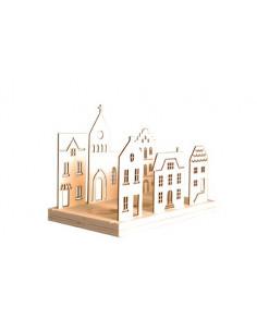 Waxinelichtje houder houten huisjes