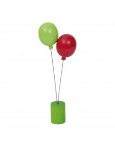 Ballon steker groen/rood